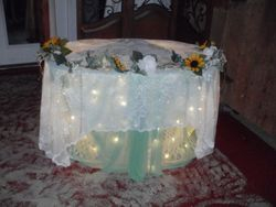Our lighted cake table