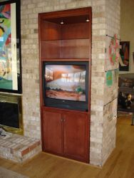TV Built-In With Glass Shelving
