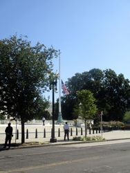 South Flag at Half Staff Outside West Façade of US Supreme Court Building from Northwest During Lying in Repose of Associate Supreme Court Justice Ruth Bader Ginsburg