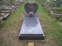 Blue pearl heart headstone