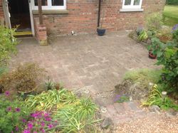 Front brick paved patio area