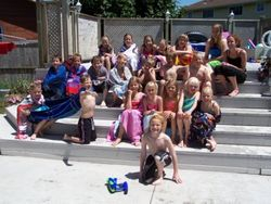 Mike and his classmates have a pool party