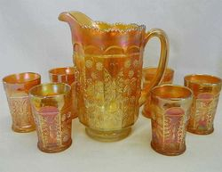 Butterfly & Berry 7 pc. water set - marigold