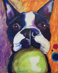 Boston Terrier and Ball