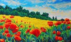 Summer Poppies overlooking wheatfields.