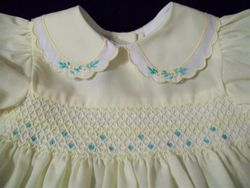 Closeup of Dress front showing collar & smock detail