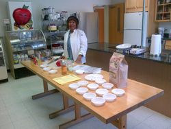 Set up for cooking demonstration facilitated by Dale Cain