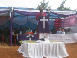 Bishop Mdegella speaks of the importance of this project to Pommern