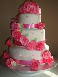 Pink and White Wedding Cake 2 (W020)