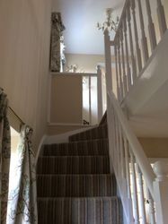 White wood staircase