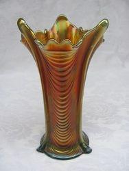 """Drapery 7 1/2"""" vase - aqua/butterscotch"""