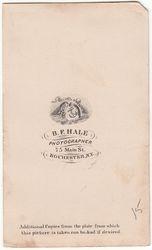 B. F. Hale, photographer, Rochester, NY - back