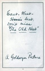 """GOLDWYN PICTURE """"THE OLD NEST"""""""