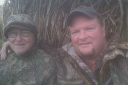 Dad and I sharing the blind.