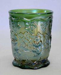Frolicking Bears tumbler, green by U.S. Glass