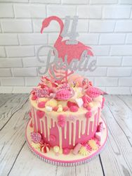 Flamingo themed drip cake