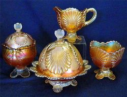 Beaded Shell 4pc. table set, marigold
