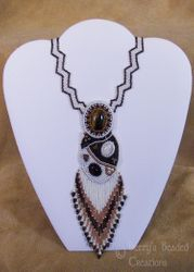 Bead Embroidered Cabochon Necklace