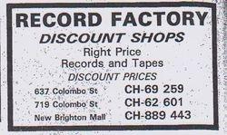 Record Factory Advert 1985
