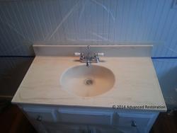 Virginia Job~Cultured Marble Bathroom Vanity BEFORE