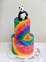 Tie and Dye Panda cake