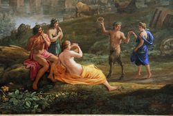 Claude Lorrain, Landscape with Nymph and Satyr Dancing, detail, Toledo