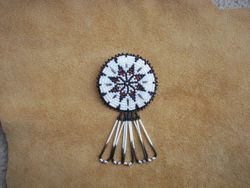 Applique Beaded Eight Point Star with Red Bay Labrador Porcupine Quills