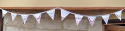 Green&Pink 10 flag cotton Bunting with vintage hand cross-stitch & mother of pearl buttons