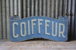 SOLD #24/087 FRENCH METAL COIFFEUR SIGN SOLD
