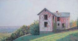 """Carter Mountain House I, oil/linen, 13 x 25"""""""