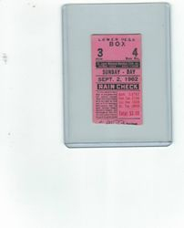 STAN MUSIAL HIT #3516 to move ahead of TRIS SPEAKER 9/2/62 Ticket Stub