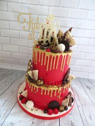 40th birthday red and gold drip cake