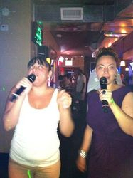 """Eve & Madeline doing """"To the Left"""" at 502 Bar Lounge's Social Saturday Night Karaoke!"""