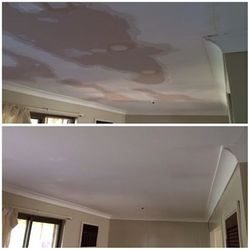 Before and after shot of damaged ceiling