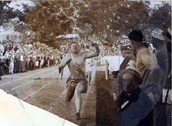 Rare photo of Charley winning race