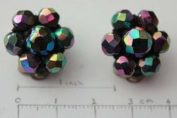 Faceted Cluster clip on earings