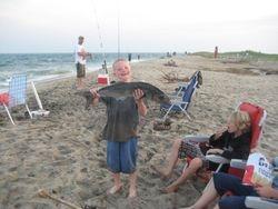 big bluefish, young boy