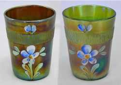 (Enameled) Forget-me-not with prism band, blue and green, Fenton