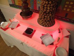 Chocolate Fountain with a 3 foot, 320 profiterole mountain