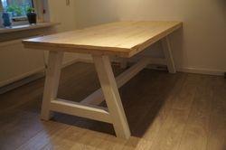 A-tafel met Steigerhouten blad..