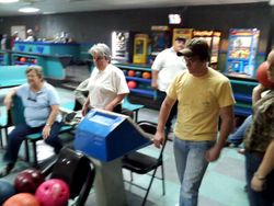 Carol, Barb, Dean, Zack & Kandice all ready to bowl.