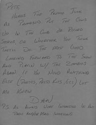 Letter from Dan to a promoter circa 1987?