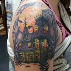 OMG!!! This is surely one of my Favorite tattoos I have done in my career!! This Adorable Creepy House is the top of Diana's Halloween Sleeve!!!