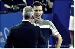 Tomas Berdych interviewed on court by Marc Maury