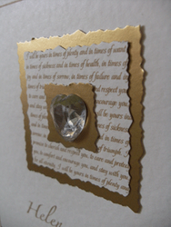Crystal Heart and Gold Vows Close up