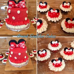 Minnie Mouse themed cake & cupcakes