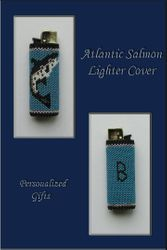 Beaded Lighter Cover with Salmon Pattern
