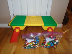 Lego Lapper Folding Table with Storage and Legos (2 gallon sized bags) - $120