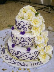 Purple and Ivory cake