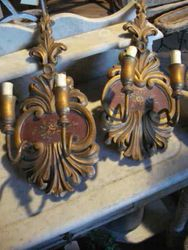 #12/288   Italian Wooden Light Sconces SOLD